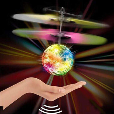 Mini Fun Kids Toy Suspended Crystal Ball Sensing Aircraft Hand Induction Flying Aircraft with Colorful LED Light, without Remote Control - amzer