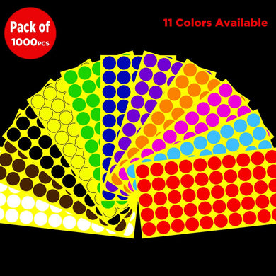 Pack of 1000 1-inch Round Shape Self-adhesive Color Coding Labels Circle Dot Stickers,11 Bright Colors,Print or Write Sheet(20 Sheet)