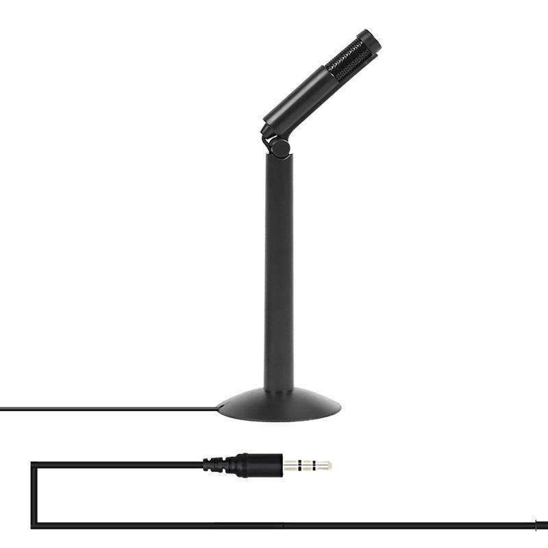 120 Degree Rotation Head 3.5mm Jack Studio Stereo Recording Microphone, Cable Length: 1.3m, Compatible with PC and Mac for Live Broadcast Show, KTV, etc.(Black) - amzer