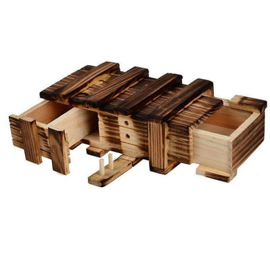 Magic Compartment Wooden Puzzle Box with Secret Drawer, Size: L - amzer