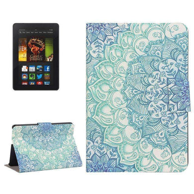 AMZER Flip Leather Case With Holder For Amazon Kindle Fire HDX 7 - Flower Drawing - amzer