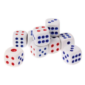 10 PCS Gaming Dice Set for Leisure Time Playing, Size: 15mm x 15mm x 15mm(White) - amzer