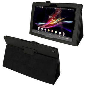 AMZER Texture Leather Case with Holder For Sony Xperia Tablet Z / 10.1 - Black - amzer