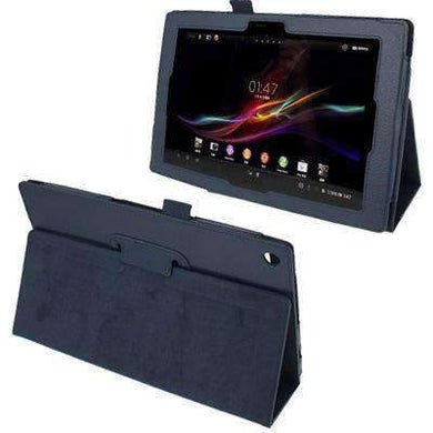 AMZER Texture Leather Case with Holder For Sony Xperia Tablet Z / 10.1 - Dark Blue - amzer