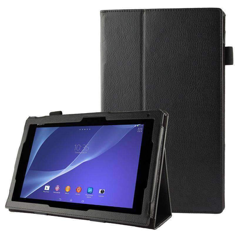 AMZER Texture Leather Case with Holder For Sony Xperia Tablet Z2 10.1 - Black - amzer