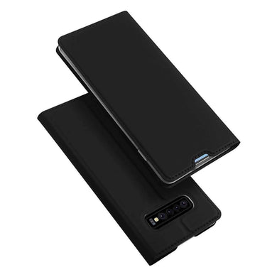 AMZER Flip Leather Wallet Case for Samsung Galaxy S10 - Black - amzer