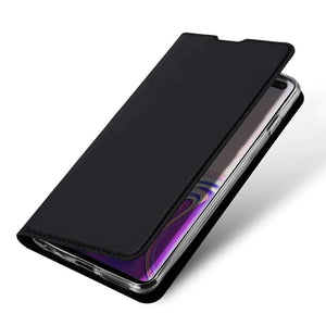 AMZER Flip Leather Wallet Case for Samsung Galaxy S10 Plus - Black - amzer