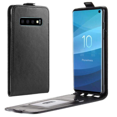 AMZER Vertical Flip Leather Wallet Case for Samsung Galaxy S10 - Black - amzer