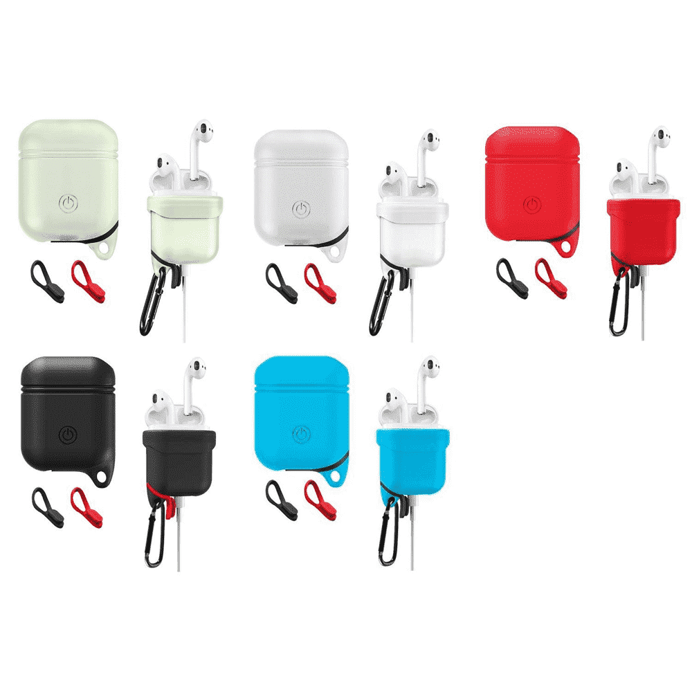 AMZER Dropproof Soft Silicone Protective Cover Skin with Carabiner For Apple AirPods - amzer