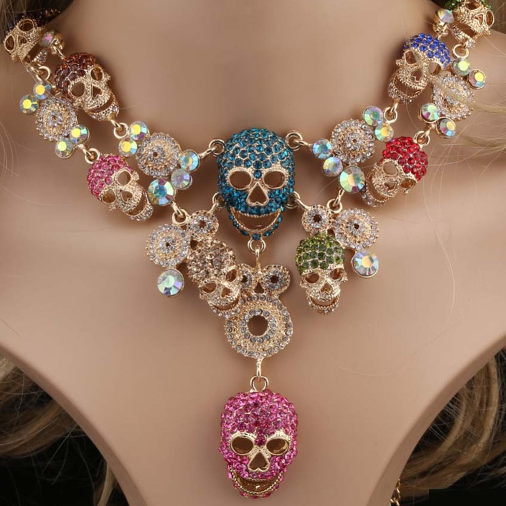 Metal Skull Pendant Crystal Choker Punk Gothic Style Women's Accessory