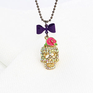 Pink Sugar Skull Funny Lady Crystal Stone Long Necklace