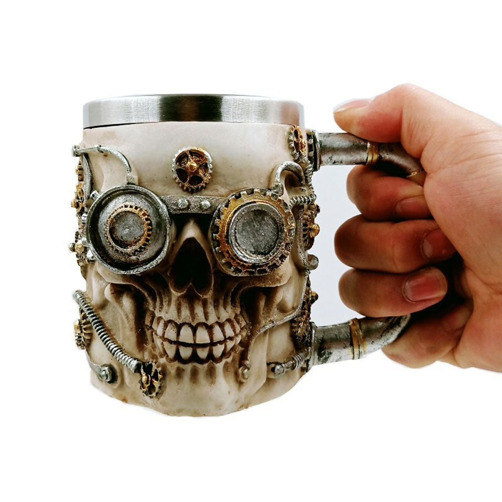 Awesome 3D Steampunk Viking Skull Stainless Mug