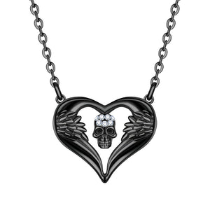 Gothic Style Angel Divil Crystal Skull Pendant