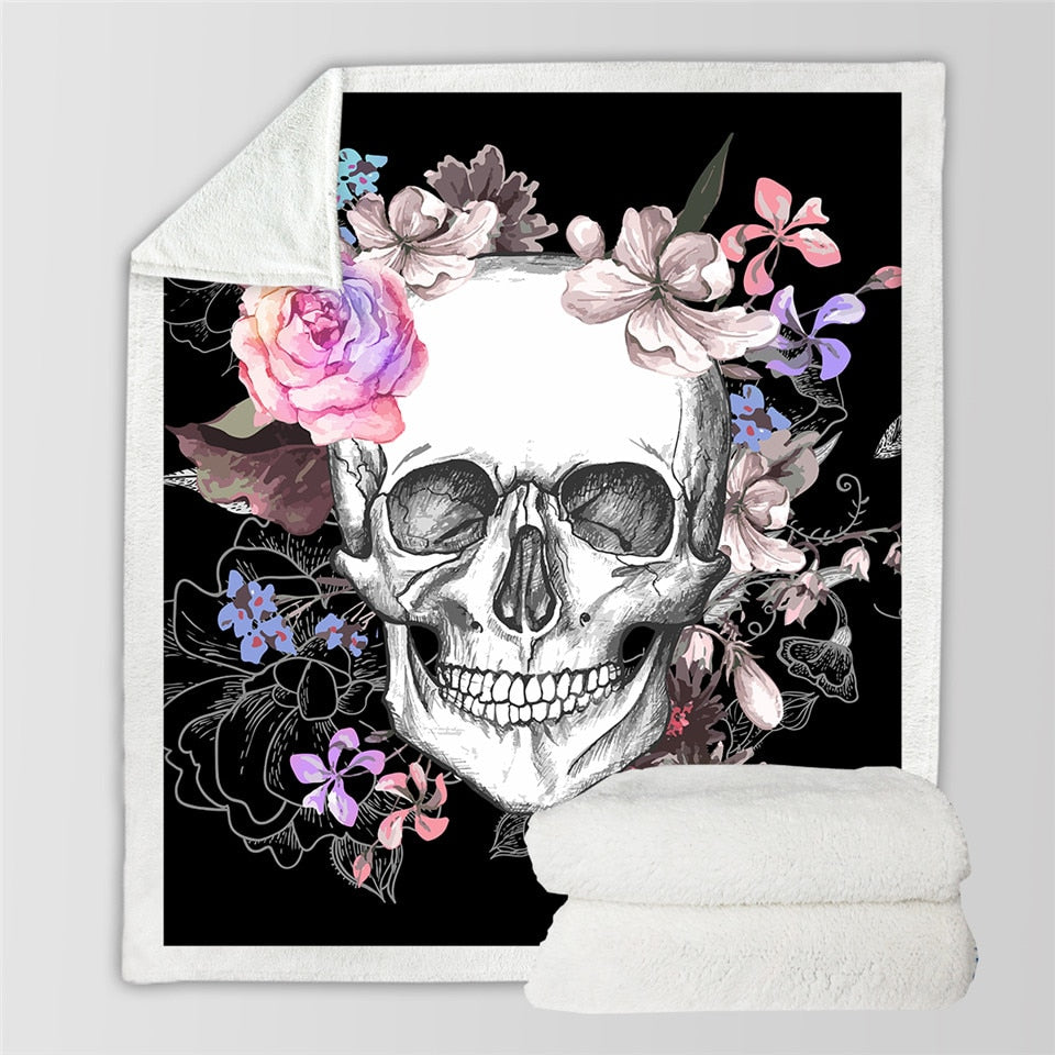 Sugar Skull Floral Roses Fleece Throw Blanket
