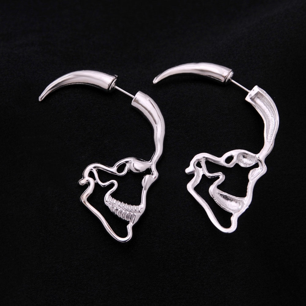 Gothic Vintage Style Skull Lover Stud Earrings