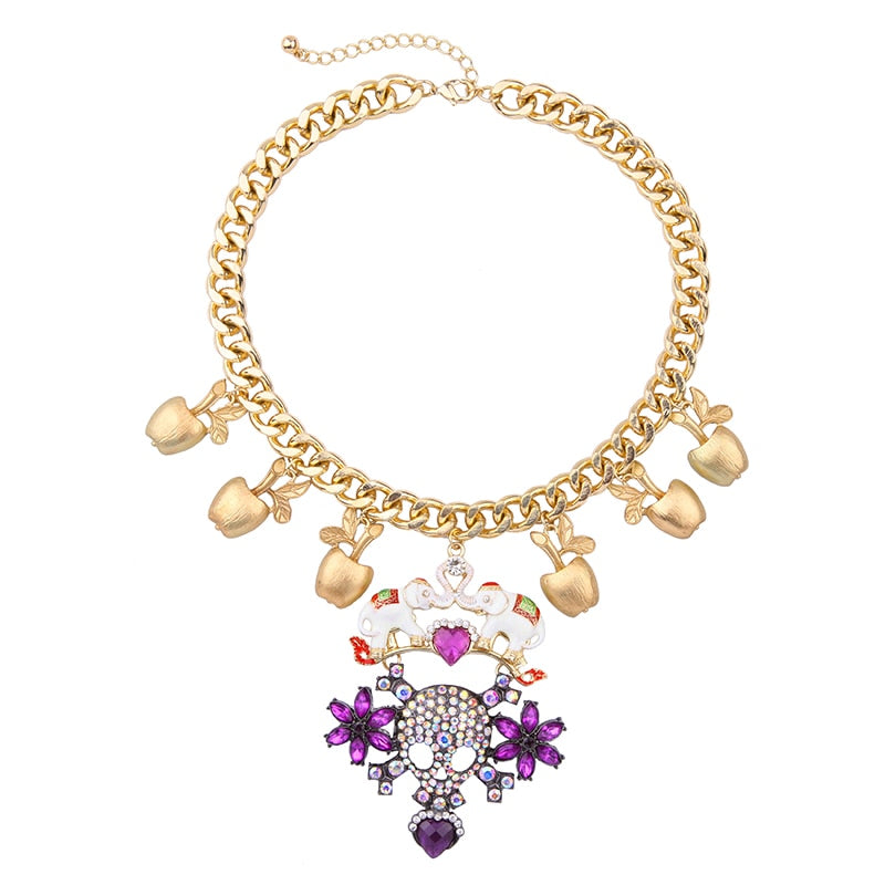 Enamel Elephant Purple Crystal Sugar Skull Statement Choker