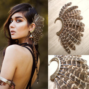 Punk Style Bohemian Unisex Personality Statement Feather Ear Cuff