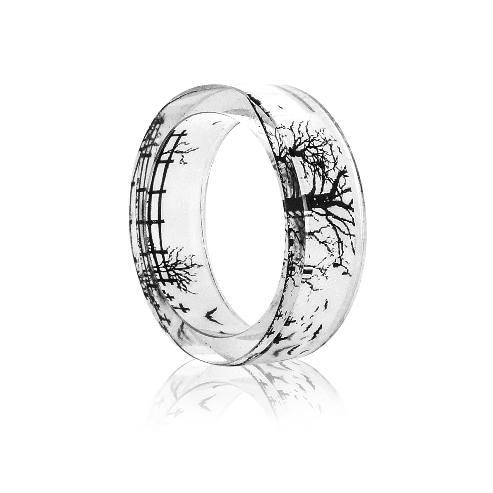 Zen Mode Chinese Ink Painting Inspired Nightmare Chill Resin Ring