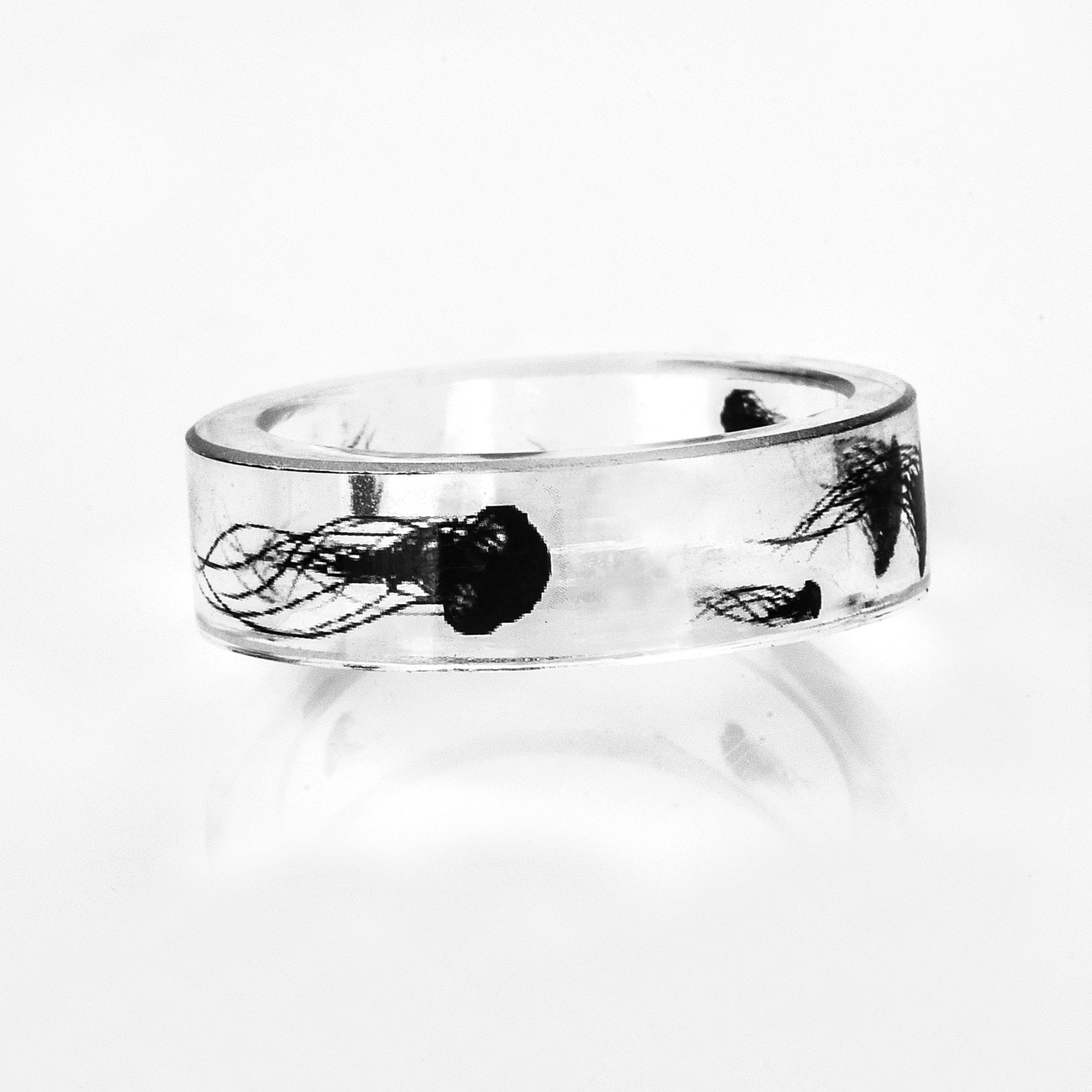 Zen Mode Chinese Ink Painting Inspired Jellyfish Crystal Ring