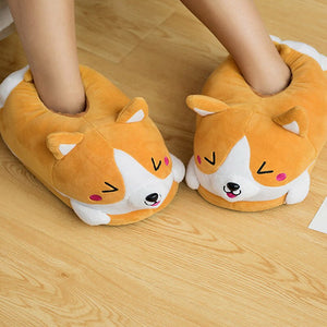 Cute Corgi Plush Indoor Winter Slippers