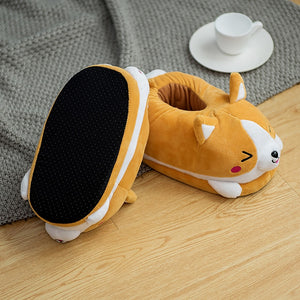 Girls Husky Corgi Cartoon slippers Indoor Keep warm Cute Animal shoes women Winter Home Rabbit slipper Lovely Cozy