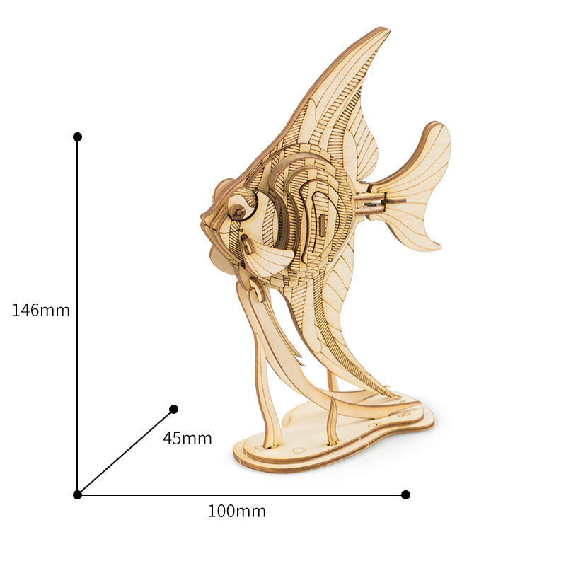 3D Wood Craft Angel Fish DIY Assembly Kit