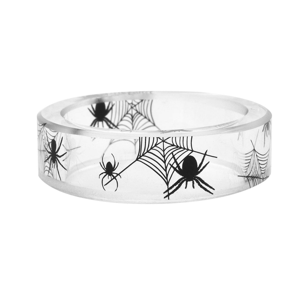 Zen Mode Chinese Ink Painting Handmade Crystal Ring (Black Spider )