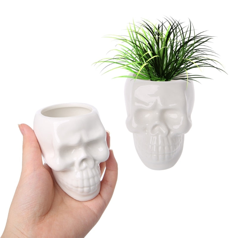 Ceramic 3D Skull Storage For Home And Garden Decor