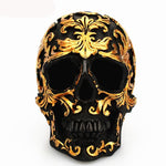 Handcrafted Resin Skull Head With Golden Carving