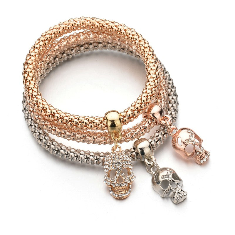 Gold Color Crystal Skull Bracelet & Bangle