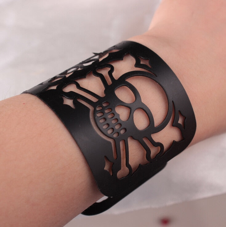 Gothic Style Bone and Cross Upper Arm Bangle