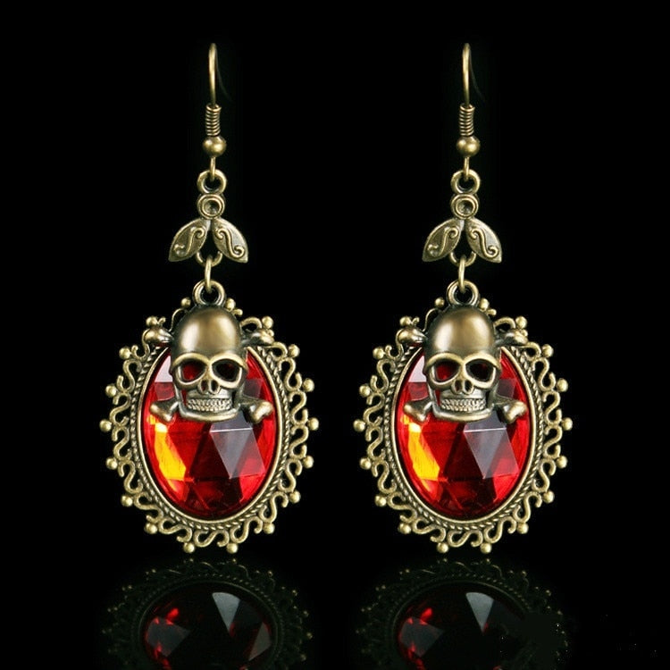 Vintage Look Hoop Crystal Skull Earrings