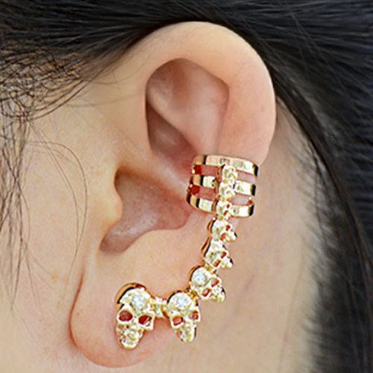 Crystal Skull Head Long Piece Stud Earrings