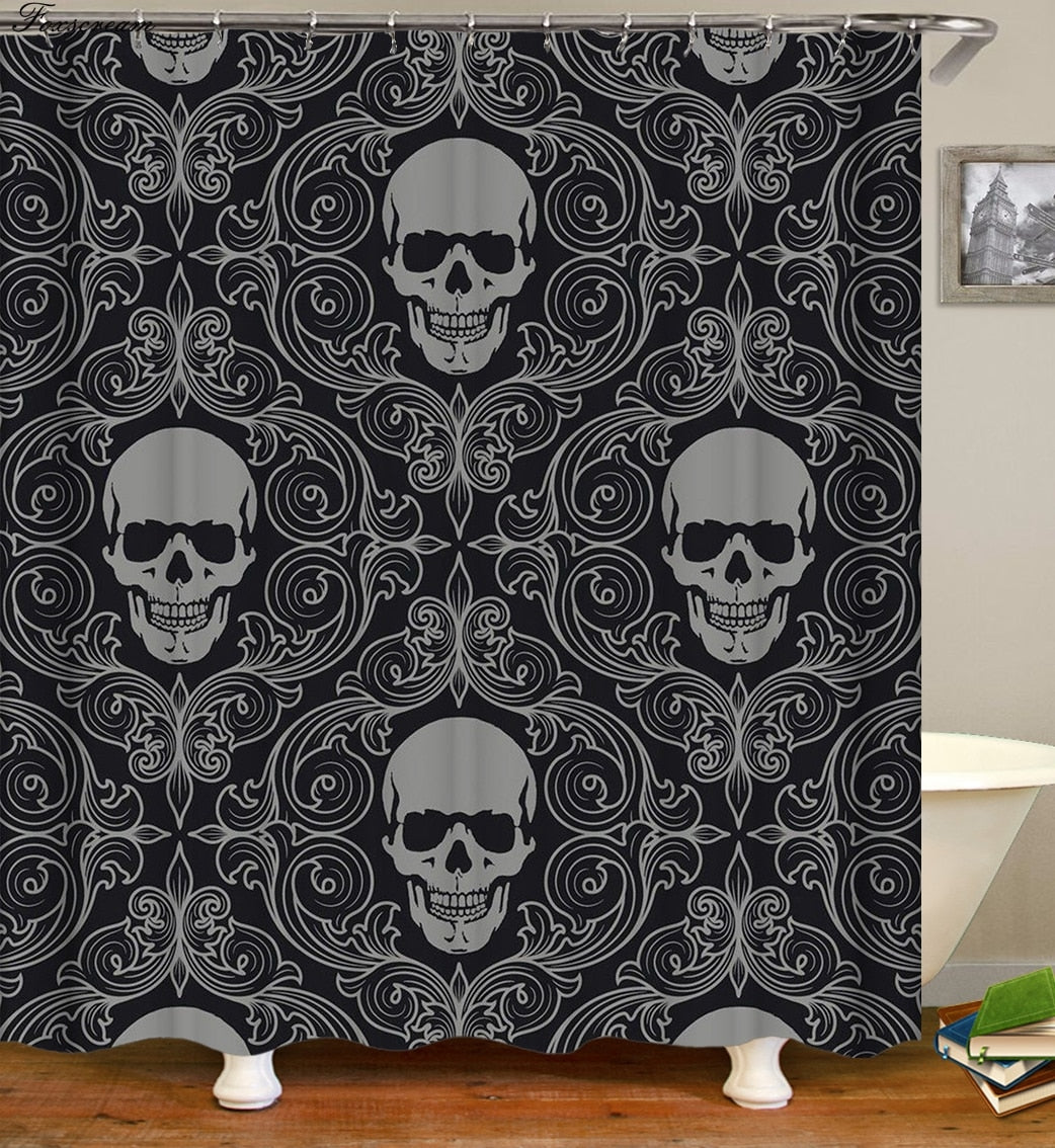 3D Sugar Skull Shower Curtain