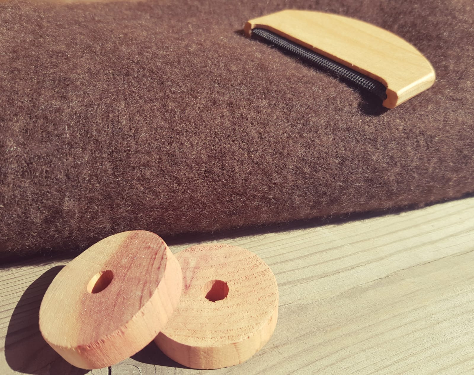 Cider blocks and pilling trimmer by a yak blanket