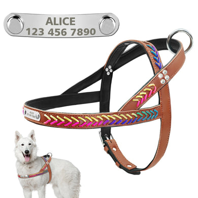 No Pull Personalized Dog Harness PU Leather