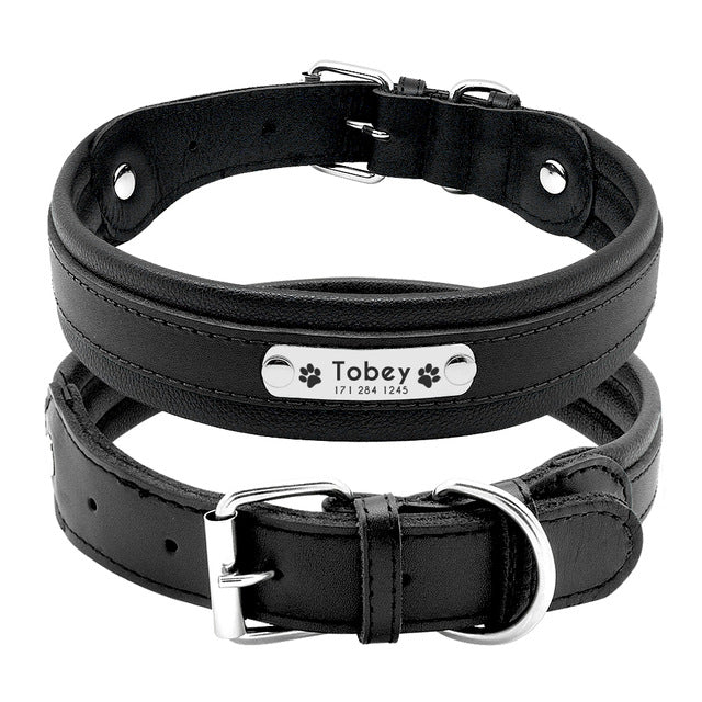 Genuine Leather ID  Dog Collar