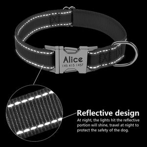 Nylon Reflective. ID  Dog Collar