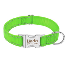 Load image into Gallery viewer, Nylon Reflective. ID  Dog Collar
