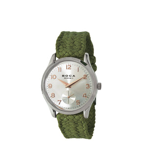 CRUZ SILVER ROSE WITH OLIVE WRISTBAND