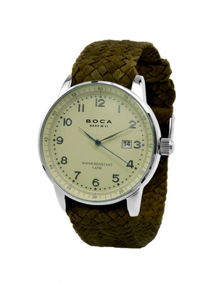 Grand Traveler Beige Silver - Olive Wristband - BOCA MMXII - Official website