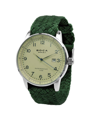 Grand Traveler Beige Silver -  Forest Green Wristband - BOCA MMXII - Official website