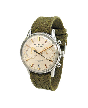 Metropole Chrono Beige with Olive Wristband - BOCA MMXII - Official website