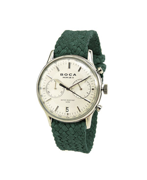 Metropole Chrono Silver with Forest Green Wristband - BOCA MMXII - Official website
