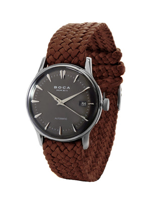 Riviera Black Automatic - Brown Wristband - BOCA MMXII - Official website