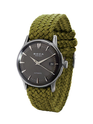 Riviera Black Automatic - Olive Wristband - BOCA MMXII - Official website