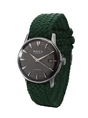 Riviera Black Automatic - Forest Green Wristband - BOCA MMXII - Official website