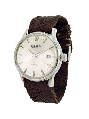 Riviera Silver Automatic - Brown Wristband - BOCA MMXII - Official website
