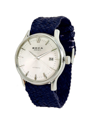 Riviera Silver Automatic - Night Blue Wristband - BOCA MMXII - Official website