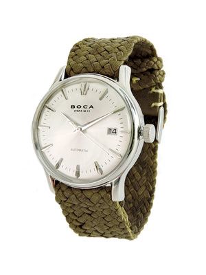 Riviera Silver Automatic - Olive Wristband - BOCA MMXII - Official website